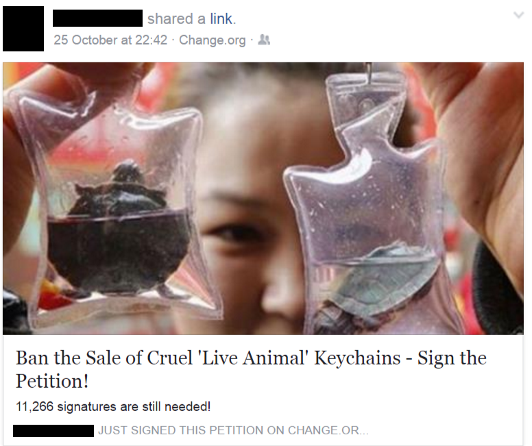 Live animal keychains Facebook post