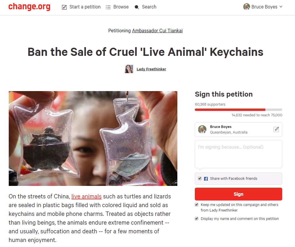 Live animal keychains petition