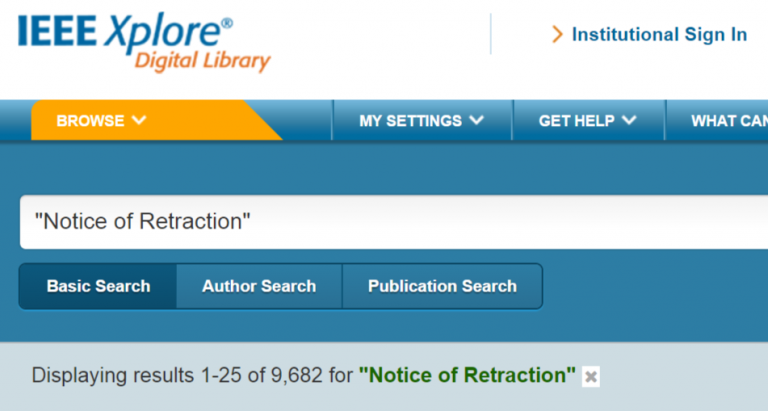 "IEEE Xplore search results for ""Notice of Retraction"""