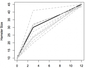 Recorded hamster sizes (dashed grey lines) and the unknown true size trajectory for a hamster starting with size 10 (solid black line)