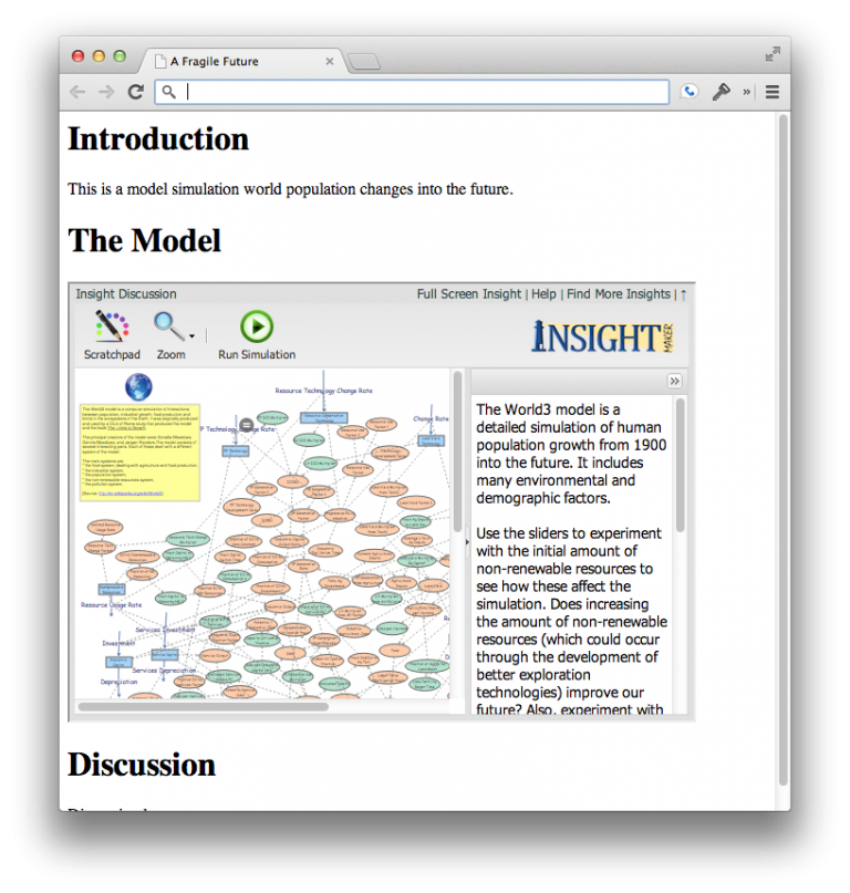 Completed page with embedded model