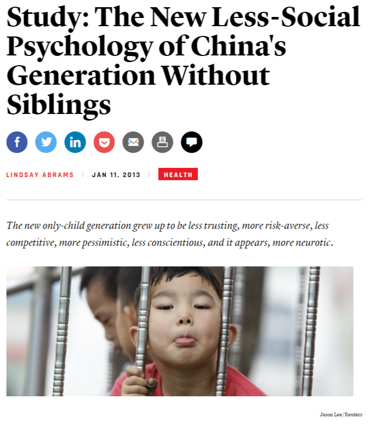 Study: The New Less-Social Psychology of China's Generation Without Siblings - The Atlantic