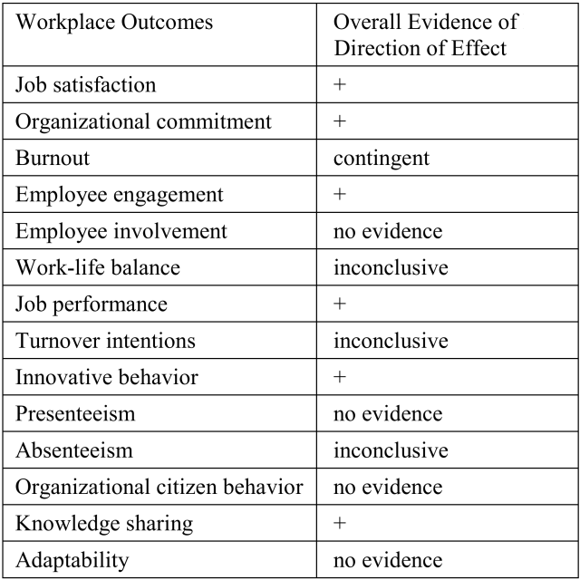 Evidence of links between social network site use and workplace outcomes