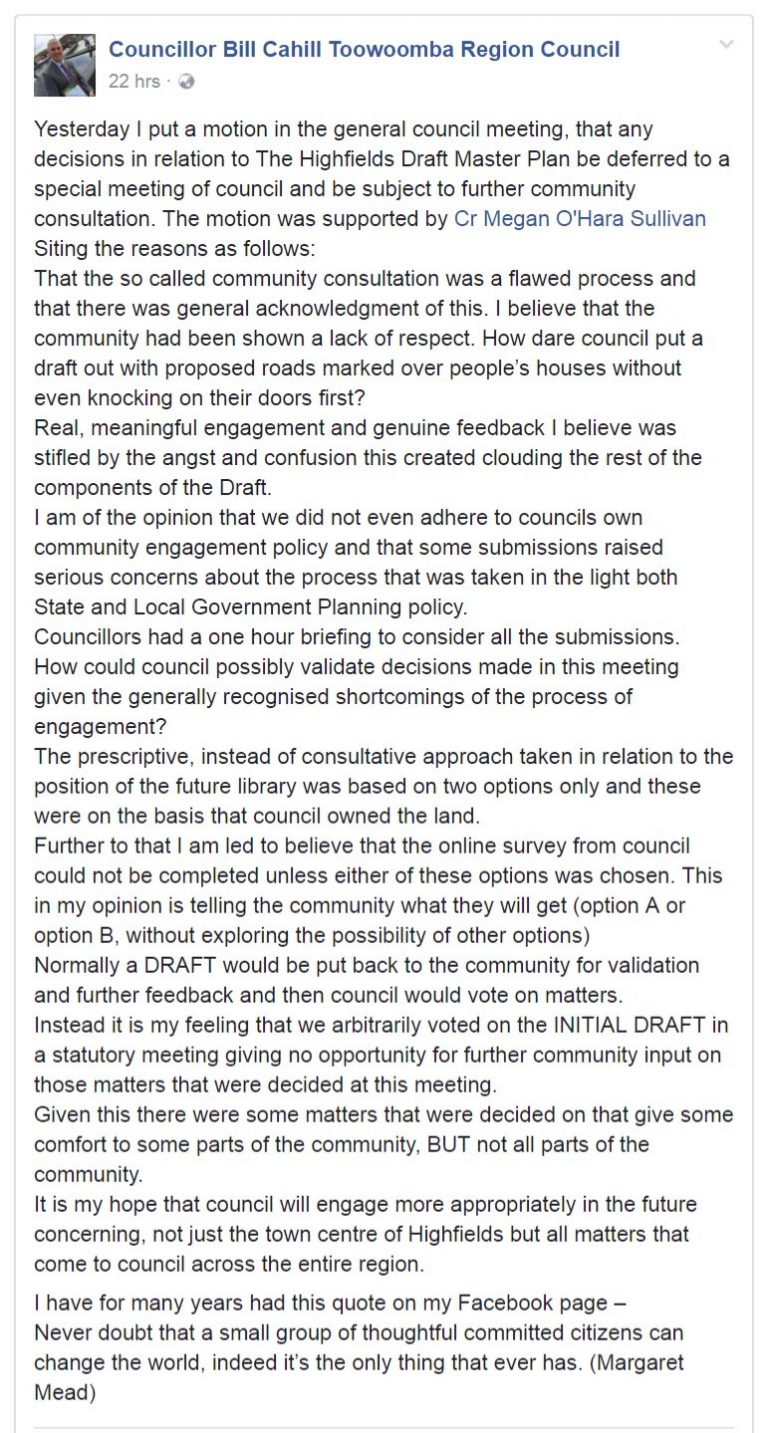 Councillor Bill Cahill Highfields Cultural Precinct Master Plan comments
