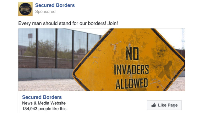Secured Borders Facebook advertisement