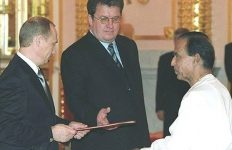Sri Lanka's Ambassador Wijekoon Mudiyanselage Ukkubanda Wijekoon presenting credentials to President Putin