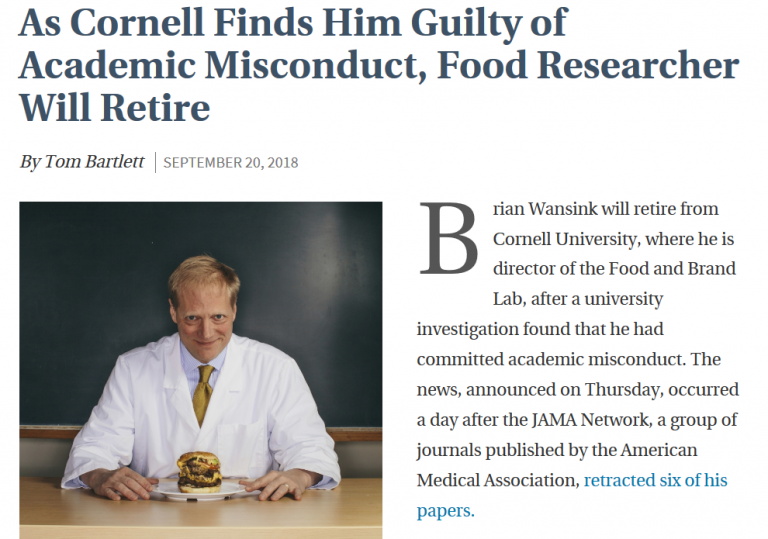 As Cornell Finds Him Guilty of Academic Misconduct, Food Researcher Will Retire
