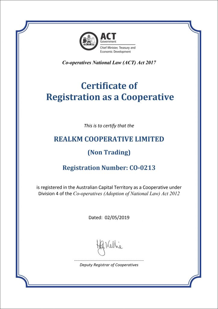 RealKM Cooperative Limited Certificate of Registration
