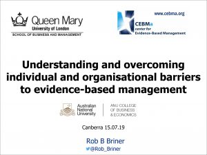 Understanding and overcoming individual and organisational barriers to evidence-based management