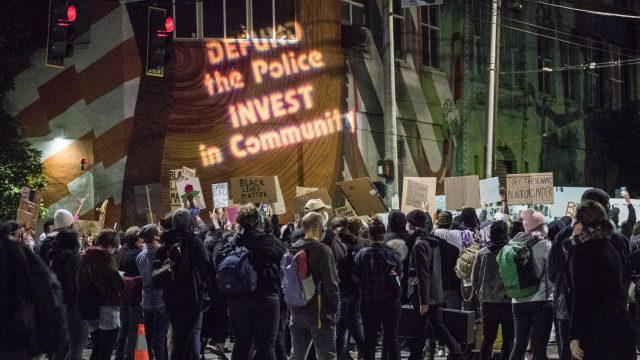 Defund the Police projections in Seattle