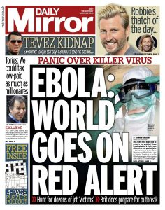 """Daily Mirror front page - """"Ebola: World goes on red alert"""""""