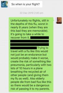 WeChat message in regard to severe flu-like illness