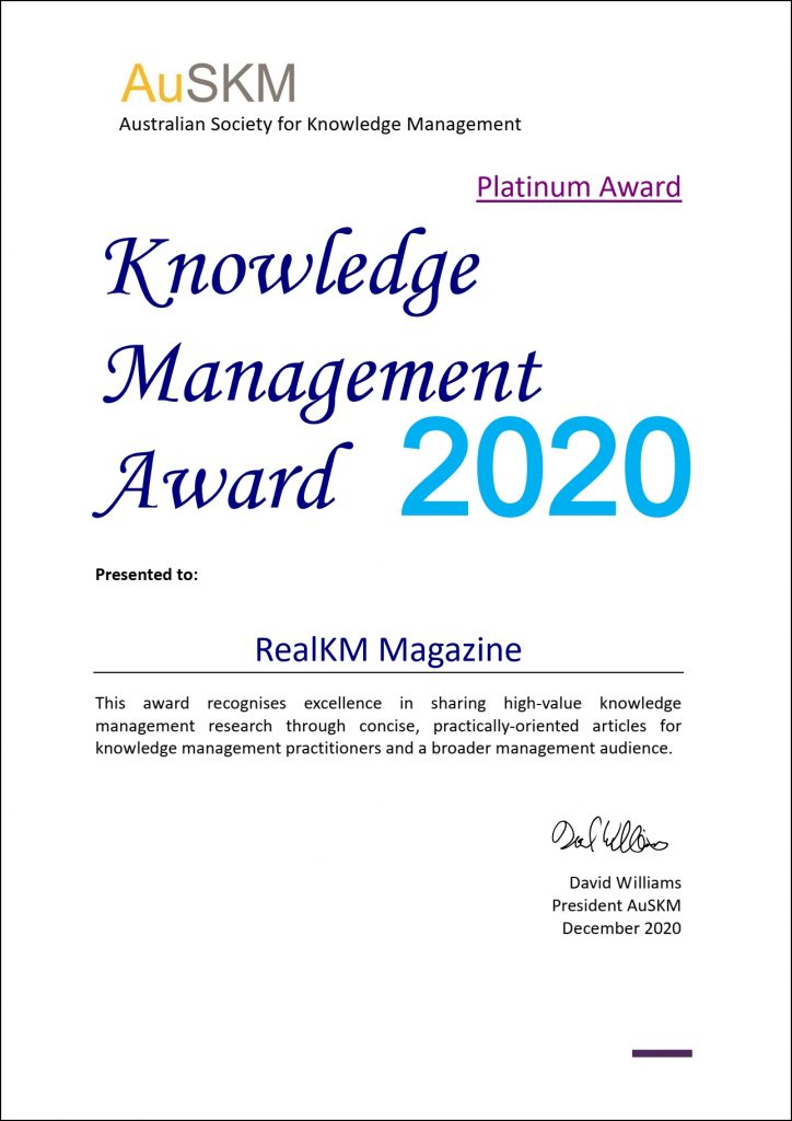 RealKM 2020 AuSKM Platinum Award