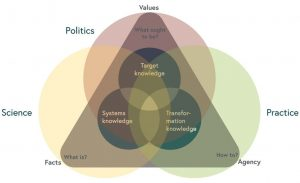 Intersecting spaces between the three types of knowledge, the relationship with facts, values and agency, and the three spheres of influence