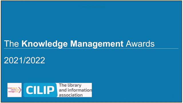 CILIP Knowledge Management Awards 2021
