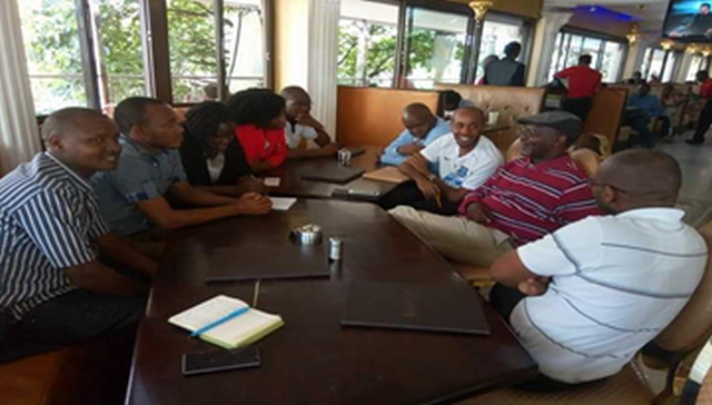 At Knowledge Café in Kilima Njaro Restaurant with KM Champions and Msc.KM Students from JKUAT listening to Toni Sittoni (Second from right) sharing about KM4Dev and KM opportunities in the development sector