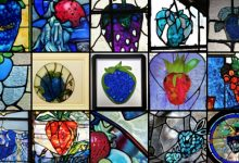 """AI-generated images of """"a stained glass window with an image of a blue strawberry"""""""